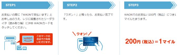 JMB WAON払いで200円=1マイル貯まる