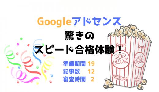 Googleアドセンス驚きのスピード合格体験!審査用ブログ準備期間19日、記事数12、2時間で審査完了!!