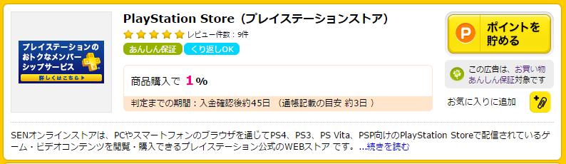 ハピタスのPlayStation Storeの広告ページ