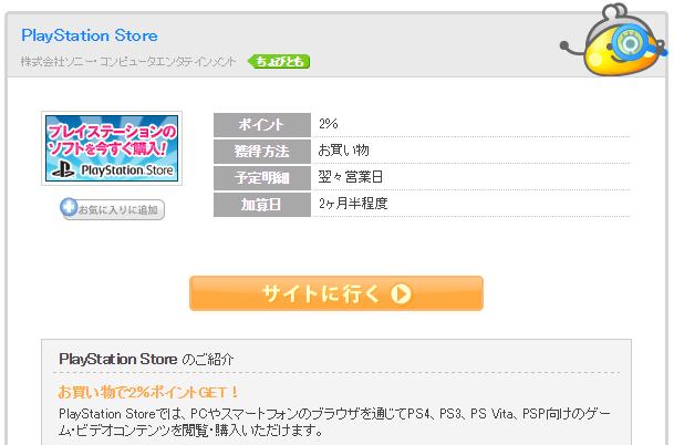 ちょびリッチのPlayStation Storeの広告ページ
