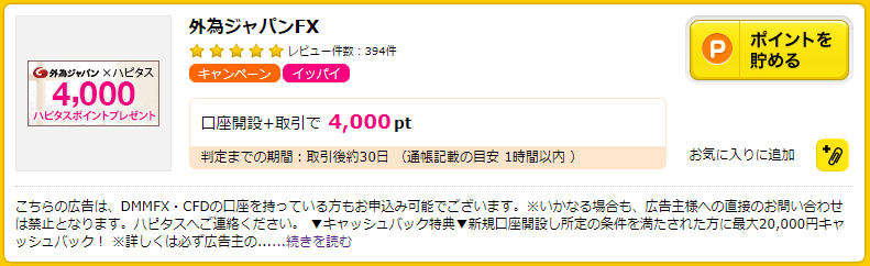 ハピタスの外為ジャパンFX