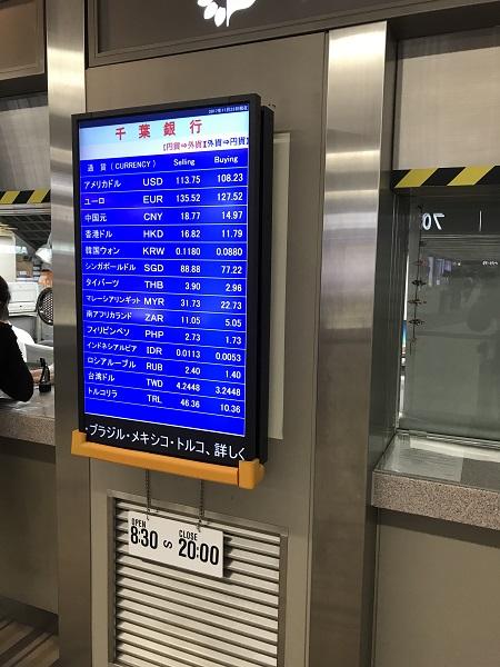 成田空港の両替レート