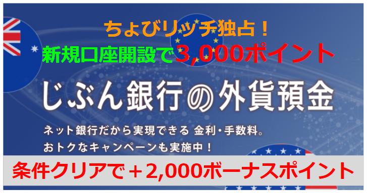 ちょびリッチ独占!じぶん銀行外貨預金口座開設で最大5,000Pバック!!