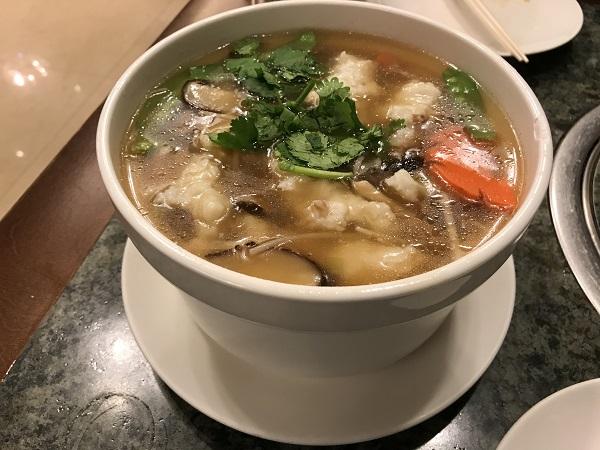 スルメイカとイカすり身のとろみスープ