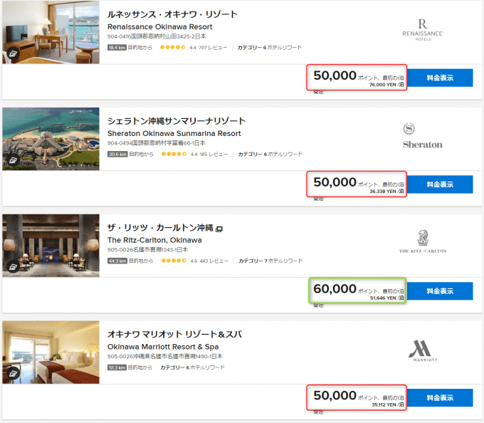 SPG&マリオット系沖縄のホテル