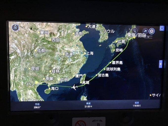 往路の飛行ルート