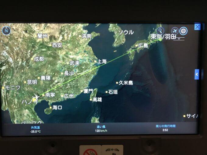 復路の飛行ルート