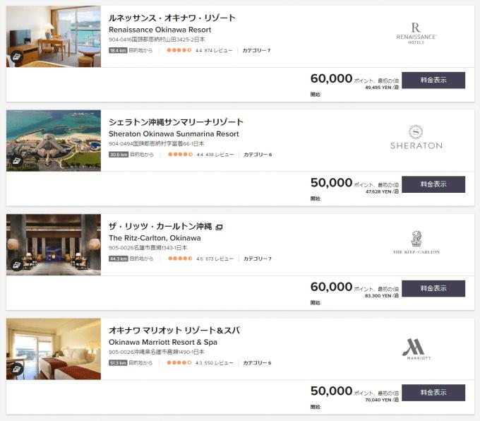 沖縄にあるマリオット・インターナショナルのホテル一覧