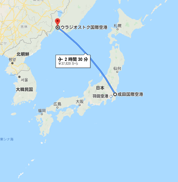 日本からウラジオストクまでの距離を表す地図