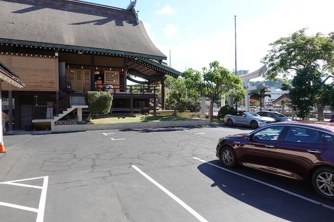 ハワイ出雲大社の駐車スペース