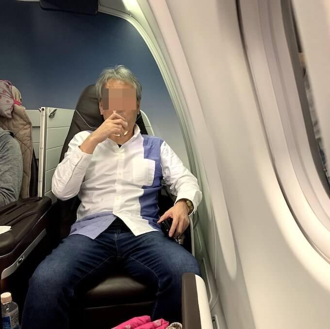 ハワイアン航空のビジネスクラスの様子