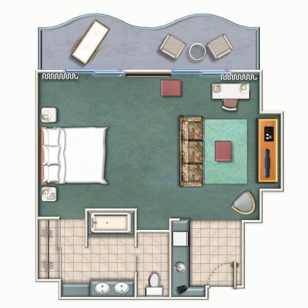 シェラトン・プリンセス・カイウラニのタワー・ラグジュアリー・ルームのレイアウト図