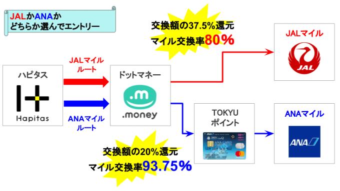ハピタス「JALでもANAでも!ドッとマイル増量キャンペーン」の概念図