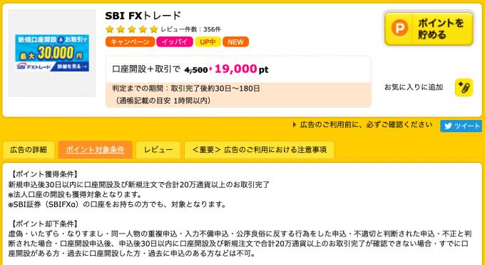 ポイントサイトのFX口座開設案件の例