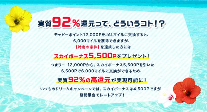 強烈!モッピーJALマイル交換92%!ドリームキャンペーンが期間限定レートアップ!!